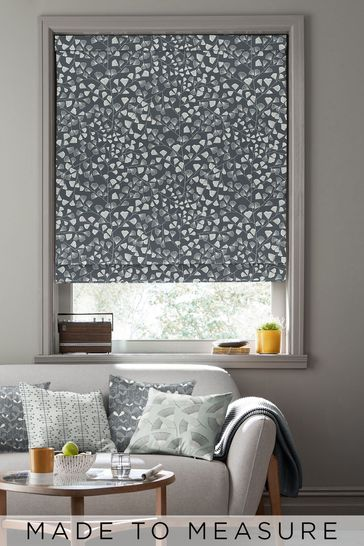 Fern Night Frost Black Made To Measure Roman Blind by MissPrint