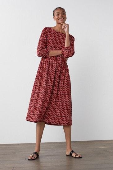 Red Heart Print Tier Midi Dress