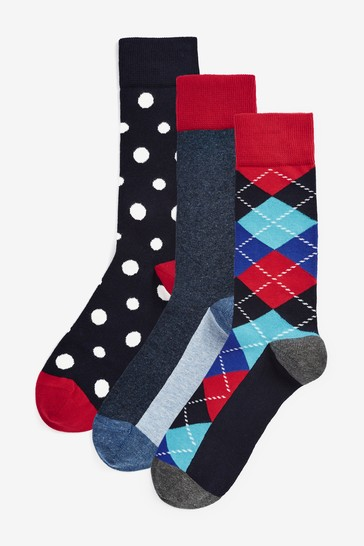 Happy Socks Argyle 3 Pack Socks