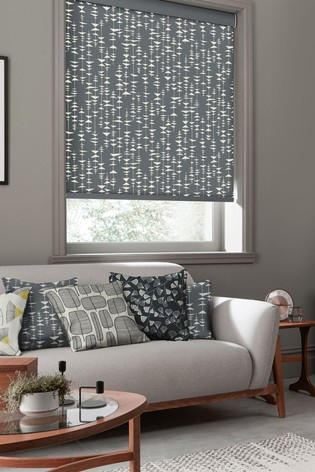 Ditto Liquorice Black Made To Measure Roller Blind by MissPrint