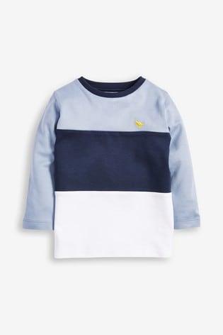 Blue/White Long Sleeve Jersey Colourblock T-Shirt (3mths-7yrs)