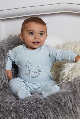 The Little Tailor Blue Chest Print Rocking Horse Sleepsuit