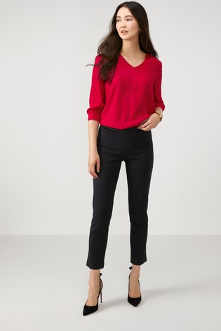 Pure Collection Black Cotton Stretch Crop Trousers