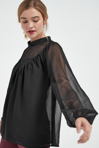 Black Yoke Detail Blouse