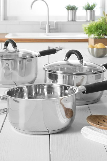 Set of 3 Aluminium/Stainless Steel Pan Set by Tower