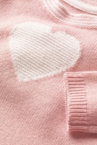 Boden Pink Cashmere Heart Jumper