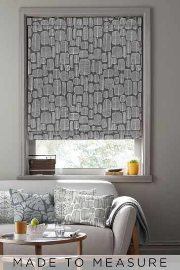 Little Trees Charcoal Black Made To Measure Roman Blind by MissPrint