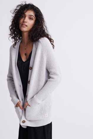 Superdry Grey Ribbed Cardigan