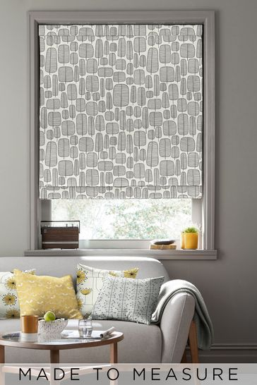 Little Trees Monochrome White Made To Measure Roman Blind by MissPrint