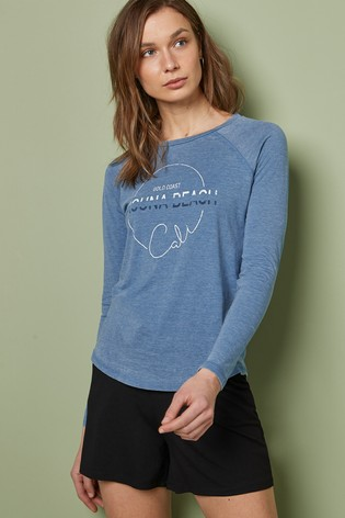 Blue Laguna Beach Graphic Washed Long Sleeve Top