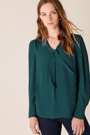 Monsoon Green Tie Front Long Sleeve Sustainable Top