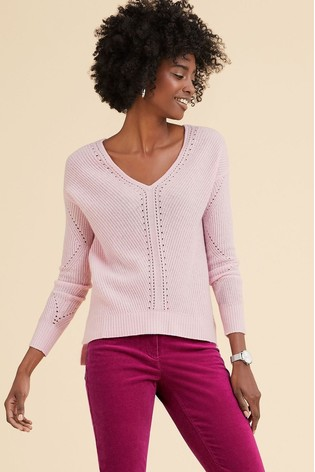 Pure Collection Pink Gassato Pointelle Detail V-Neck Sweater