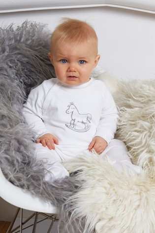 The Little Tailor White Chest Print Rocking Horse Sleepsuit
