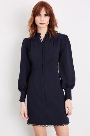 Damsel In A Dress Blue Zeli Button Dress