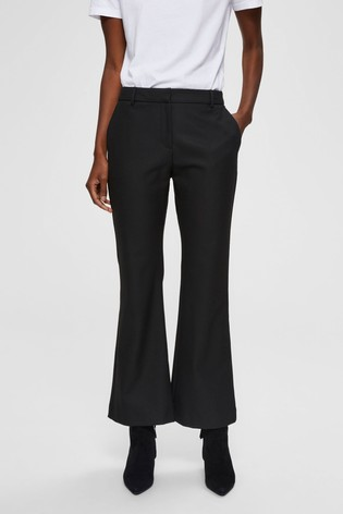 Selected Femme Black Crop Flare Trousers