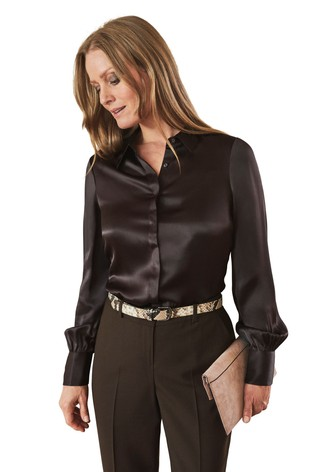 Pure Collection Brown Silk Satin Shirt