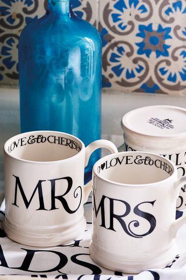 Set of 2 Emma Bridgewater Black Toast Mr & Mrs Half Pint Mugs