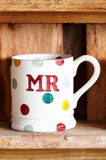 Set of 2 Emma Bridgewater Polka Dot Mr & Mrs Half Pint Mugs