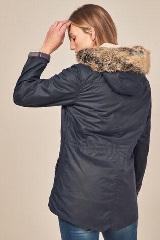 Barbour® Navy Kelsall Wax Faux Fur Parka