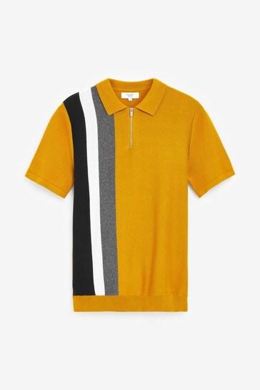Mustard Stripe Premium Zip Polo