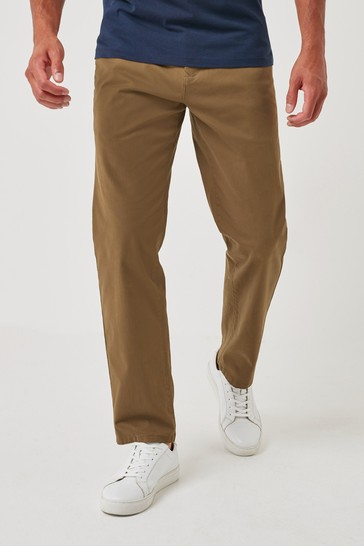 Tan Relaxed Fit Stretch Chino Trousers