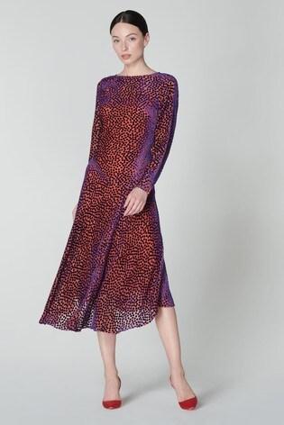 L.K.Bennett Purple Bloomsbury Midi Dress