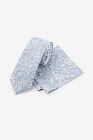 Light Blue Slim Floral Silk Tie And Pocket Square Set