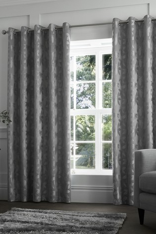 Curtina Romolo Jacquard Floral Lined Eyelet Curtains