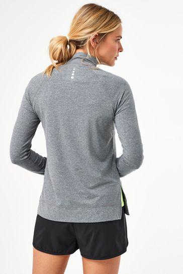 Charcoal Zip Neck Running Top