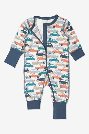 Polarn O. Pyret Blue Organic Cotton Car Print All-In-One Pyjamas