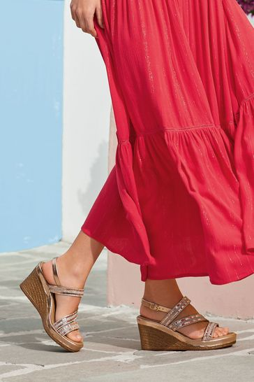 Rose Gold Asymmetric Sparkly Wedges