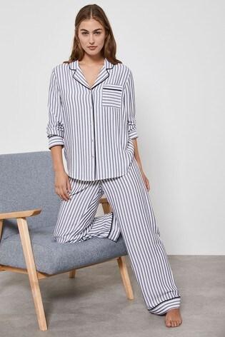 Mint Velvet White/Blue Stripe Pyjama Bottoms