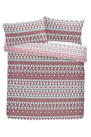 Fusion Red Fairisle Pattern Reversible Duvet Cover and Pillowcase Set