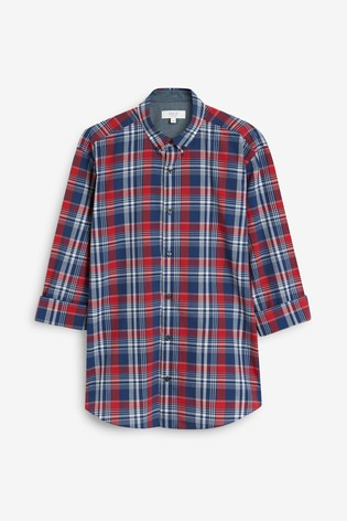 Red/Blue Regular Fit Roll Sleeve Check Shirt