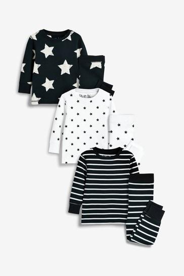 Navy Star/Stripe 3 Pack Snuggle Pyjamas (9mths-12yrs)