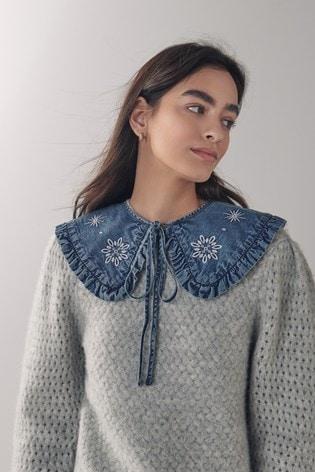 Blue Embroidered Reversible Detachable Denim Frill Collar