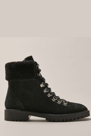 Crew Clothing Black Lace-Up Boots