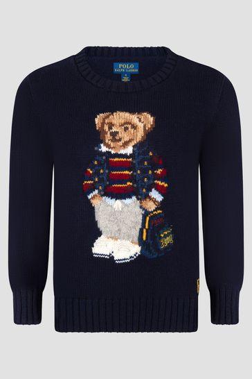 Boys Navy Cotton Crew Neck Sweater