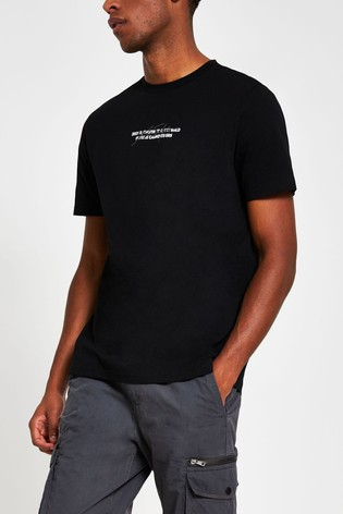 River Island Black Slim Minimal Print T-Shirt
