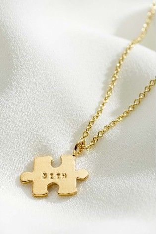 Personalised Mini Jigsaw 18ct Yellow Gold Plate Necklace by Posh Totty Designs