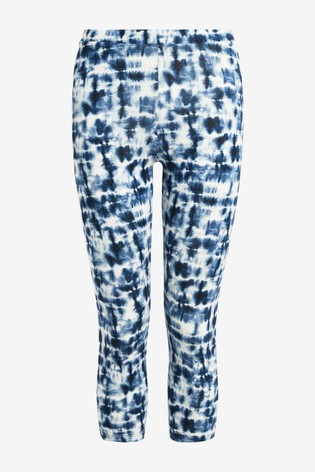 Blue Tie Dye Cropped Leggings