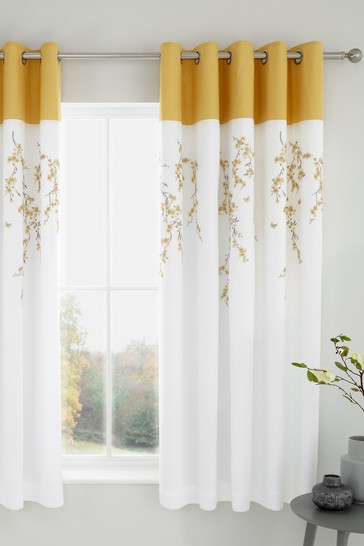 Catherine Lansfield White Embroidered Blossom Floral Lined Eyelet Curtains