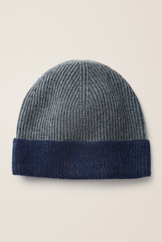 Boden Charcoal/Navy Ribbed Cashmere Hat