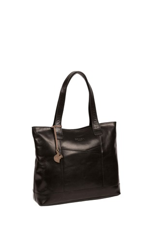 Conkca Black Patience Leather Tote Bag