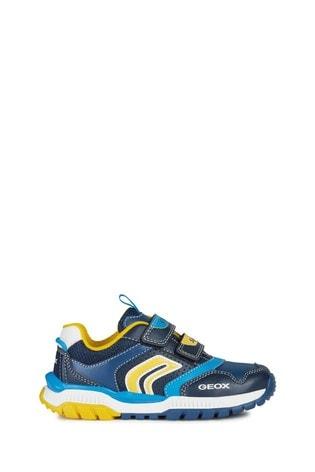 Geox Junior Boys/Unisex Tuono Navy/Yellow Velcro Trainers