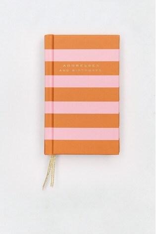 Caroline Gardner Orange Pink Stripe Handbag Address And Birthday Book