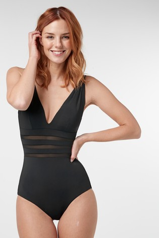 Black Mesh Panel Plunge Shape Enhancing Swimsuit
