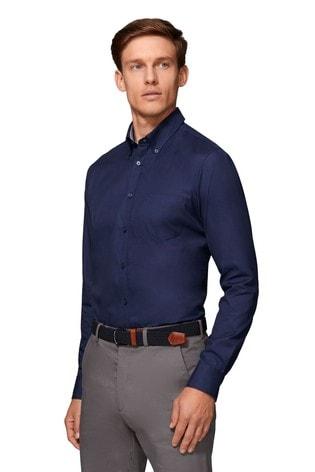 T.M. Lewin Royal Oxford Slim Fit Navy Shirt