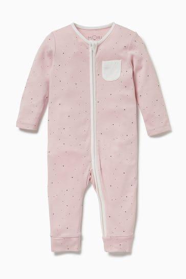 MORI Pink Zip-Up Sleepsuit