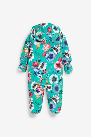Turquoise Floral Pramsuit (0mths-2yrs)